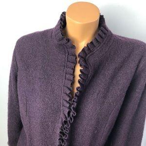 Edina Ronay burgundy frilled wool cardigan Sz XL